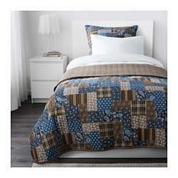 FRÄKEN bedspread and cushion cover, blue, brown Bedspread length: 280 cm Bedspread width: 180 cm Cushion cover length: 65 cm