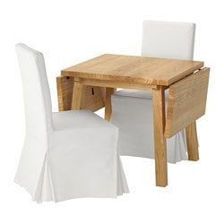 MÖCKELBY /  HENRIKSDAL table and 2 chairs, Blekinge white, oak white Length: 114 cm Min. length: 79 cm Max. length: 150 cm