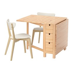 NORDEN /  NORDMYRA table and 2 chairs, white birch, birch Length: 89 cm Min. length: 26 cm Max. length: 152 cm