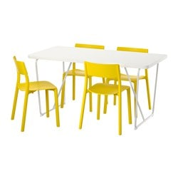 RYDEBÄCK/ BACKARYD /  JANINGE table and 4 chairs, yellow, white Length: 150 cm Width: 78 cm Height: 75 cm