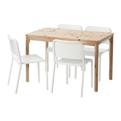 IKEA PS 2014 /  MELLTORP table and 4 chairs, white, pine Length: 120 cm Width: 75 cm Height: 74 cm