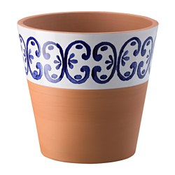 KRYDDKANEL plant pot, terracotta, blue/white Depth: 22 cm Outside diameter: 23 cm Max. diameter flowerpot: 19 cm