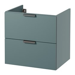 GODMORGON wash-stand with 2 drawers, grey-turquoise Width: 60 cm Depth: 47 cm Height: 58 cm