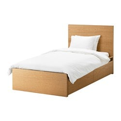 MALM bed frame, high, w 2 storage boxes, Lönset, oak veneer Length: 199 cm Width: 106 cm Footboard height: 38 cm