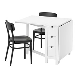 NORDEN / IDOLF table and 2 chairs, black, white Length: 89 cm Min. length: 26 cm Max. length: 152 cm