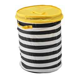 "FLYTTBAR basket with lid, yellow Height: 19 ¼ "" Diameter: 13 ¾ "" Height: 49 cm Diameter: 35 cm"