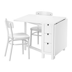 NORDEN / IDOLF table and 2 chairs, white, white Length: 89 cm Min. length: 26 cm Max. length: 152 cm