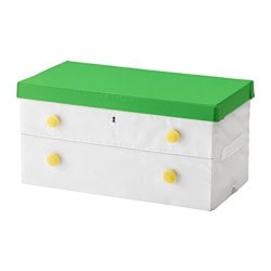 FLYTTBAR box with lid, green, white