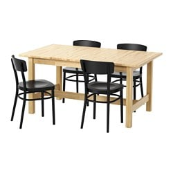 NORDEN / IDOLF table and 4 chairs, black, birch Length: 155 cm Max. length: 210 cm Width: 90 cm