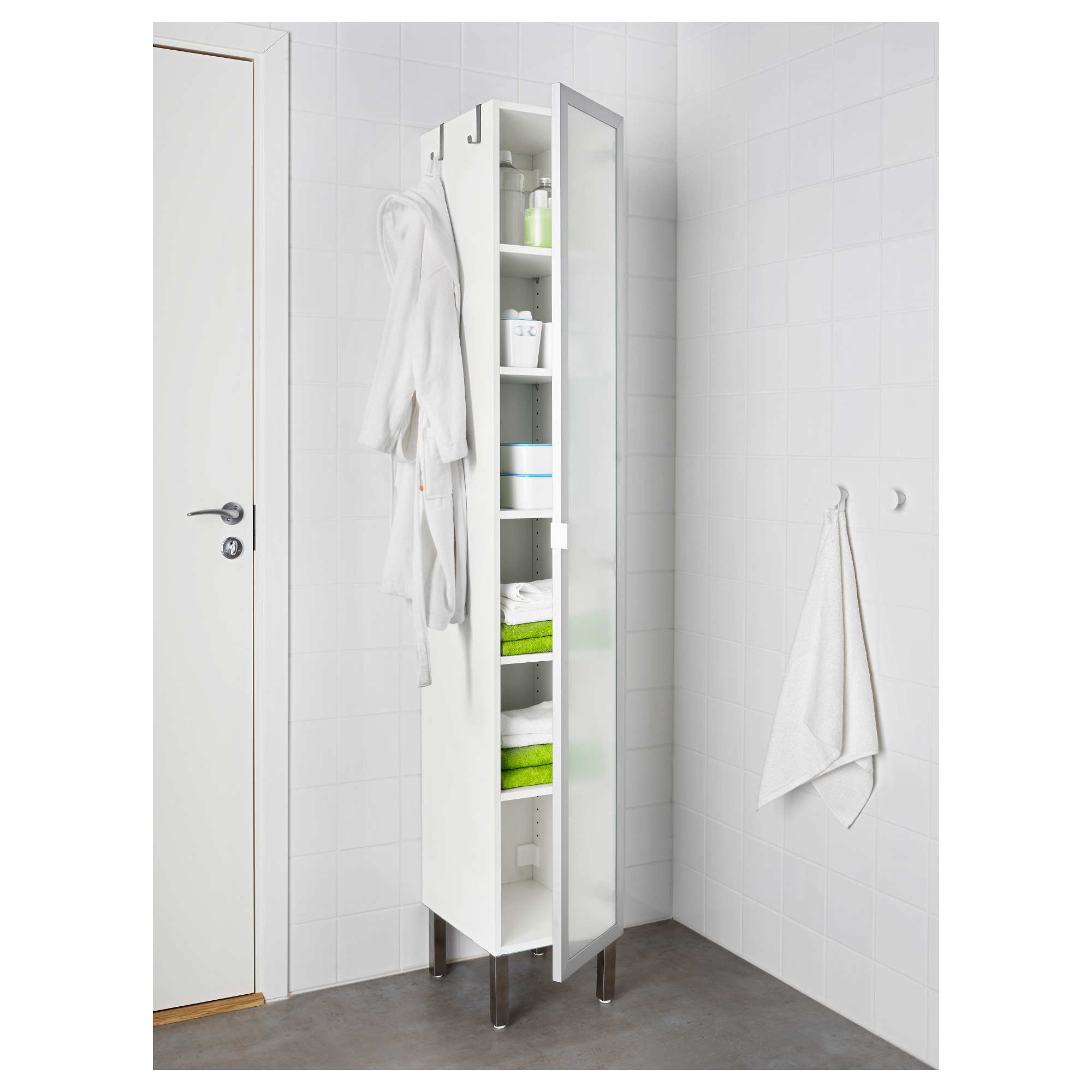 LillÅngen High Cabinet With 1 Door Stainless Steel White 30x38x194 Cm Ikea