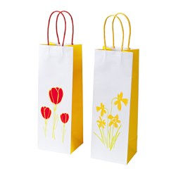 KACKLING gift bag for bottle, assorted patterns Width: 11 cm Height: 32 cm Package quantity: 2 pack