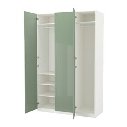 PAX wardrobe, white, Fardal high-gloss/light green