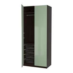 PAX wardrobe, black-brown, Fardal high-gloss/light green