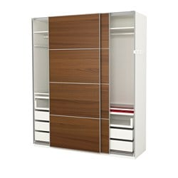 PAX wardrobe, white, Ilseng brown stained ash veneer