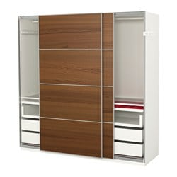 PAX wardrobe, Ilseng brown stained ash veneer, white Width: 200.0 cm Depth: 66.0 cm Height: 201.2 cm