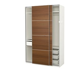 PAX wardrobe, white, Ilseng brown stained ash veneer Width: 150.0 cm Depth: 66.0 cm Height: 236.4 cm