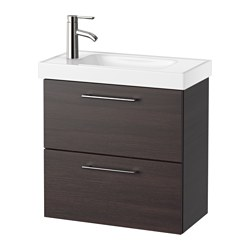 "GODMORGON /  HAGAVIKEN sink cabinet with 2 drawers, black-brown Width: 24 3/8 "" sink cabinet width: 23 5/8 "" Depth: 13 3/8 "" Width: 62 cm sink cabinet width: 60 cm Depth: 34 cm"