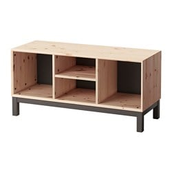 NORNÄS bench with storage compartments, pine, grey Width: 108 cm Depth: 40 cm Height: 52 cm