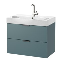 GODMORGON /  BRÅVIKEN wash-stand with 2 drawers, light grey, grey-turquoise Width: 82 cm Wash-stand width: 80 cm Depth: 49 cm