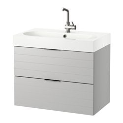 "GODMORGON /  BRÅVIKEN sink cabinet with 2 drawers, light gray, white Width: 32 1/4 "" Sink cabinet width: 31 1/2 "" Depth: 19 1/4 "" Width: 82 cm Sink cabinet width: 80 cm Depth: 49 cm"