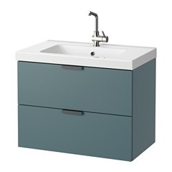 GODMORGON /  ODENSVIK wash-stand with 2 drawers, grey-turquoise Width: 83 cm Wash-stand width: 80 cm Depth: 49 cm