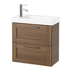 "GODMORGON /  HAGAVIKEN sink cabinet with 2 drawers, walnut effect Width: 24 3/8 "" Sink cabinet width: 23 5/8 "" Depth: 13 3/8 "" Width: 62 cm Sink cabinet width: 60 cm Depth: 34 cm"