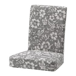 HENRIKSDAL chair cover, Hovsten grey/white