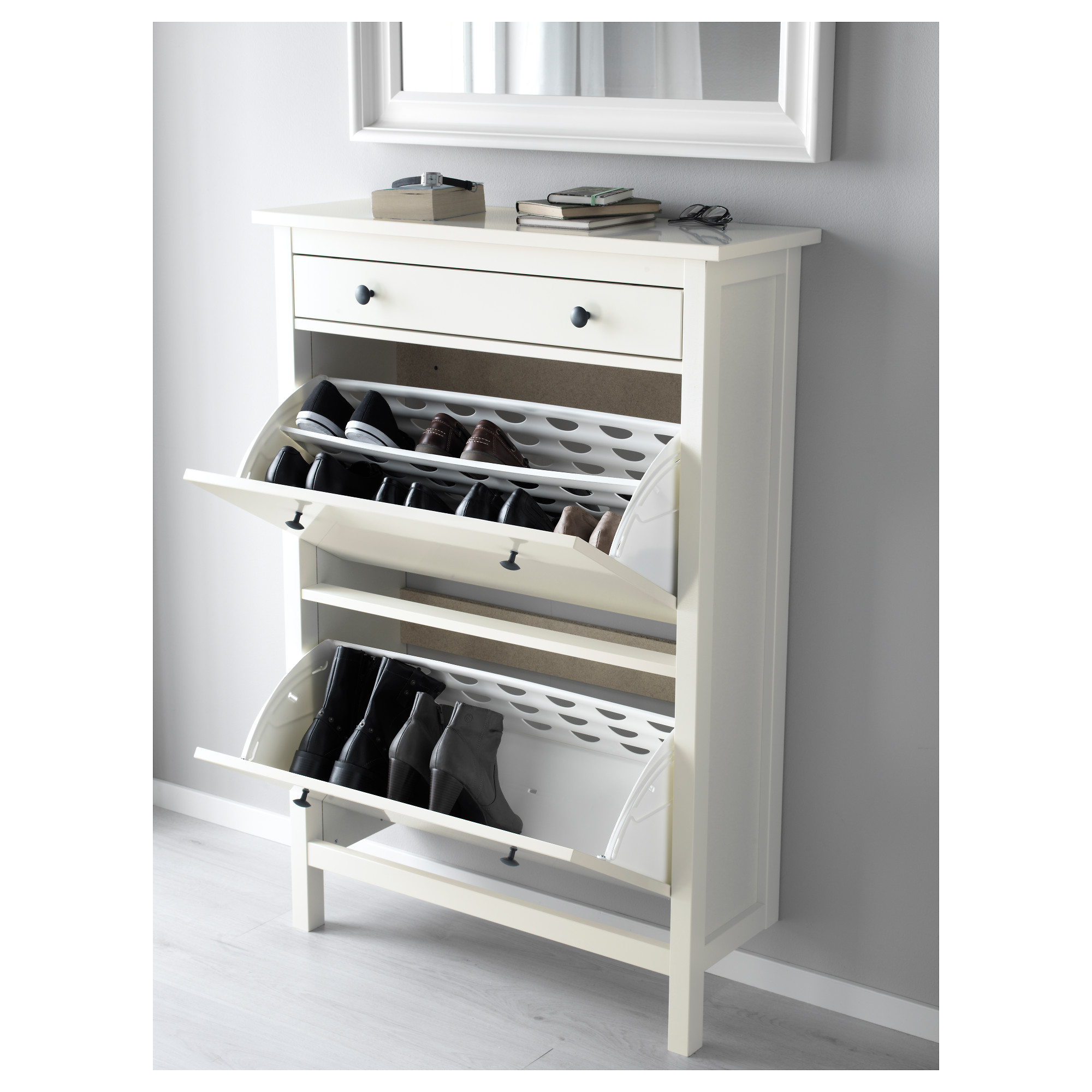 hemnes shoe cabinet with 2 compartments white ikea - Shoe Rack Ikea