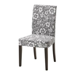 HENRIKSDAL chair, Hovsten grey/white, brown-black Tested for: 110 kg Width: 51 cm Depth: 58 cm