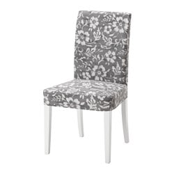 "HENRIKSDAL chair, Hovsten gray/white, white Tested for: 243 lb Width: 21 1/4 "" Depth: 22 7/8 "" Tested for: 110 kg Width: 54 cm Depth: 58 cm"