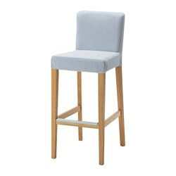 HENRIKSDAL bar stool with backrest, Remvallen blue/white, oak Tested for: 110 kg Width: 40 cm Depth: 51 cm