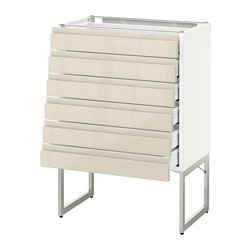METOD base cabinet 6 fronts/6 low drawers, white Maximera, Voxtorp Width: 60 cm Depth: 39.1 cm Frame, depth: 37 cm