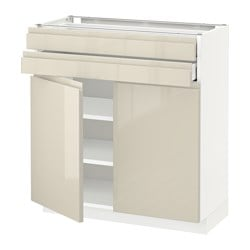 METOD /  MAXIMERA base cabinet w 2 doors/2 drawers, white, Voxtorp Width: 80.0 cm Depth: 39.1 cm Frame, depth: 37.0 cm