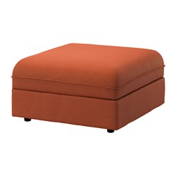 VALLENTUNA seat module with storage, Ramna orange Width: 80 cm Depth: 80 cm Height: 46 cm