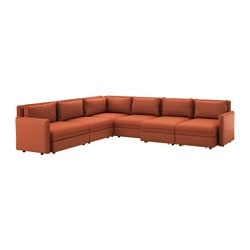 VALLENTUNA 6-seat corner sofa with bed, Ramna orange Width: 346 cm Depth: 286 cm Seat depth: 80 cm