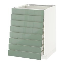 METOD /  FÖRVARA base cabinet 8 fronts/8 low drawers, white, Kallarp light green Width: 60 cm Depth: 61.8 cm Frame, depth: 60 cm