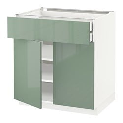 METOD /  MAXIMERA base cabinet w 2 doors/2 drawers, white, Kallarp light green Width: 80.0 cm Depth: 61.8 cm Frame, depth: 60.0 cm