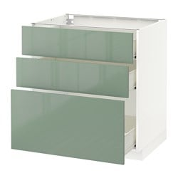 METOD /  FÖRVARA base cabinet with 3 drawers, white, Kallarp light green Width: 80.0 cm Depth: 61.8 cm Frame, depth: 60.0 cm
