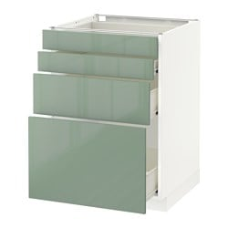 METOD /  FÖRVARA base cab 4 frnts/4 drawers, white, Kallarp light green Width: 60.0 cm Depth: 61.8 cm Frame, depth: 60.0 cm
