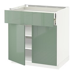 METOD /  FÖRVARA base cabinet w 2 doors/2 drawers, white, Kallarp light green Width: 80.0 cm Depth: 61.8 cm Frame, depth: 60.0 cm