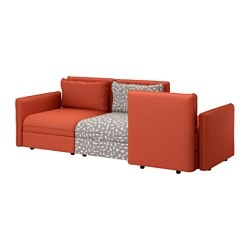 VALLENTUNA 3-seat sofa, Funnarp black/beige, Orrsta orange Width: 266 cm Depth: 113 cm Seat depth: 80 cm
