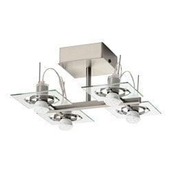 FUGA ceiling light with 4 spotlights, chrome plated, clear glass
