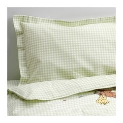 NANIG 4-piece bedlinen set for cot, green Quilt cover length: 125 cm Quilt cover width: 110 cm Pillowcase length: 55 cm