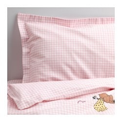 NANIG 4-piece bedlinen set for cot, pink Quilt cover length: 125 cm Quilt cover width: 110 cm Pillowcase length: 55 cm