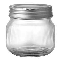 FRYNTLIG jar with lid, tin-plated, clear glass Height: 8 cm Volume: 25 cl