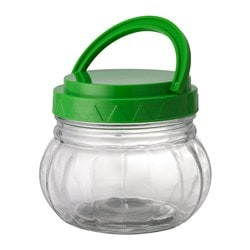SMULOR jar with lid, plastic, clear glass Height: 10 cm Volume: 46 cl