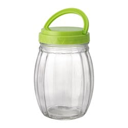 SMULOR jar with lid, plastic, clear glass Height: 17 cm Volume: 78 cl