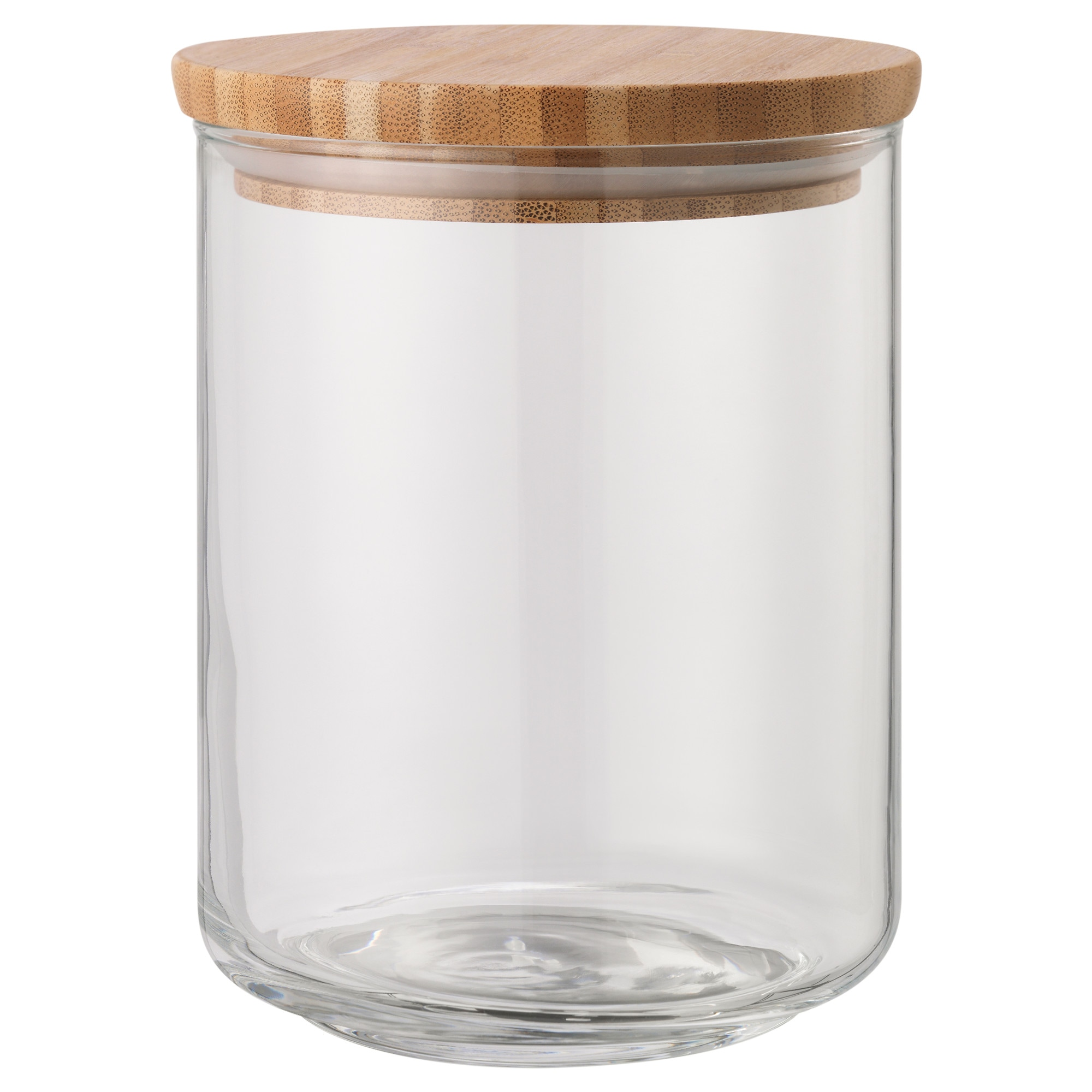 EKLATANT Jar With Lid, Clear Glass, Bamboo Height: 13 Cm Diameter: 10