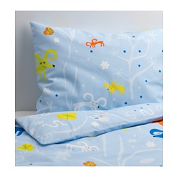 "GETTER duvet cover and pillowcase(s), light blue Thread count: 145 square inches Duvet cover length: 86 "" Duvet cover width: 64 "" Thread count: 145 square inches Duvet cover length: 218 cm Duvet cover width: 162 cm"