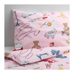 LEKRUM quilt cover and pillowcase, pink Quilt cover length: 200 cm Quilt cover width: 150 cm Pillowcase length: 50 cm
